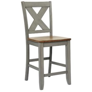 Barnwell 24″ X-Back Barstool (Rustic Brown 2 / Gray 2) by Winners Only