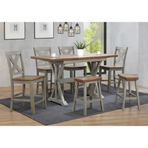 Barnwell 7-Piece Tall Dining Set (Rustic Brown 2 / Gray 2) by Winners Only