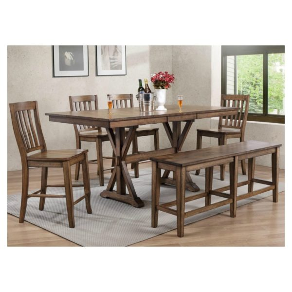 Carmel 6-Piece Tall Dining Set (Rustic Brown) by Winners Only