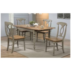 Barnwell 5-Piece Dining Set (Rustic Brown 2 / Gray 2) by Winners Only