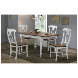 Pacifica 5-Piece Dining Set (Rustic Brown/White) by Winners Only