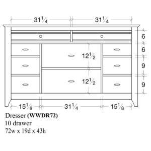 Woodrow 10 Drawer Dresser by Amish Crafted by Noah Bontrager