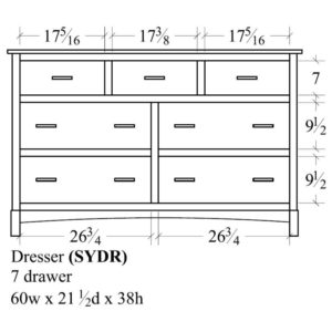 Sydney 7 Drawer Dresser (60W) by Amish Crafted by Noah Bontrager