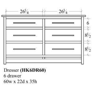 Hyde Park 6 Drawer Dresser (60W) by Amish Crafted by Noah Bontrager