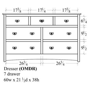 Old Mission 7 Drawer Dresser (60W) by Amish Crafted by Noah Bontrager