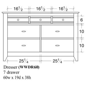 Woodrow 7 Drawer Dresser (60W) by Amish Crafted by Noah Bontrager
