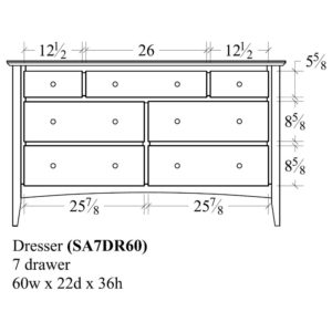 Sedona 7 Drawer Dresser (60W) by Amish Crafted by Noah Bontrager
