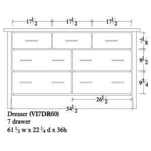 Victor 7 Drawer Dresser (61.5W) by Amish Crafted by Noah Bontrager