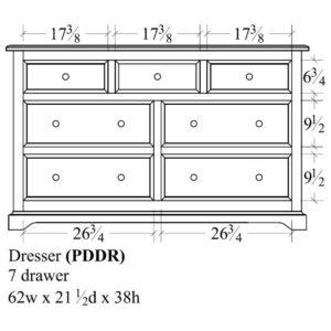 Portland 7 Drawer Dresser (62W) by Amish Crafted by Noah Bontrager