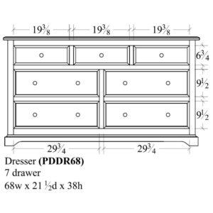Portland 7 Drawer Dresser (68W) by Amish Crafted by Noah Bontrager