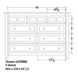 Adrian Dresser (9 Drawer) by Amish Crafted by Noah Bontrager