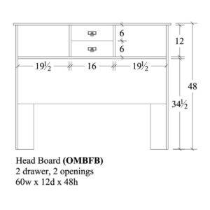 Old Mission Bookcase Head Board 60x12x48 by Amish Crafted by Noah Bontrager