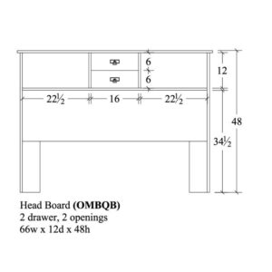 Old Mission Bookcase Head Board 66x12x48 by Amish Crafted by Noah Bontrager
