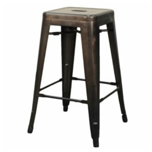 Metropolis Metal Backless Stool (Gunmetal) by New Pacific Direct