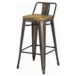 Metro Metal Low Back Stool (Wood Seat, Gunmetal) by New Pacific Direct