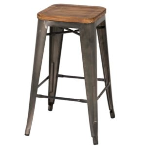 Metropolis Metal Backless Stool (Wood Seat, Gunmetal) by New Pacific Direct