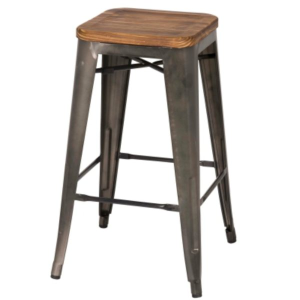 Metropolis Metal Backless Stool (Wood Seat, Gunmetal) by New Pacific Direct