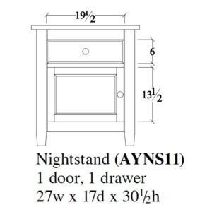 Audrey Night Stand (1 Door, 1 Drawer) by Amish Crafted by Noah Bontrager