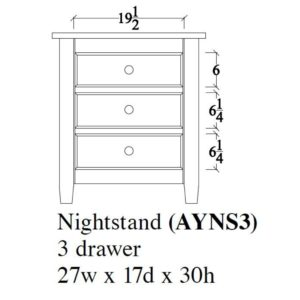 Audrey Night Stand (3 Drawer) by Amish Crafted by Noah Bontrager