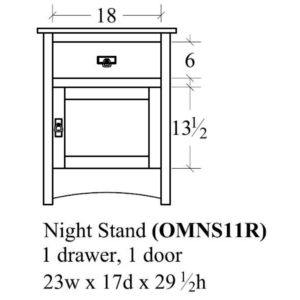 Old Mission 1 Door Nightstand (Left-Hand) by Amish Crafted by Noah Bontrager