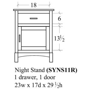 Sydney 1 Door Nightstand (Left-Hand) by Amish Crafted by Noah Bontrager