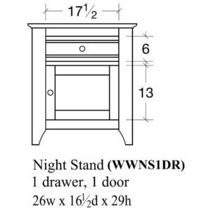 Woodrow 1 Door Nightstand (Left-Hand) by Amish Crafted by Noah Bontrager