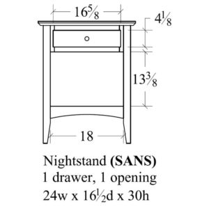 Sedona 1 Drawer, 1 Opening Nightstand by Amish Crafted by Noah Bontrager
