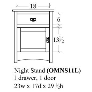 Old Mission 1 Door Nightstand (Right-Hand) by Amish Crafted by Noah Bontrager