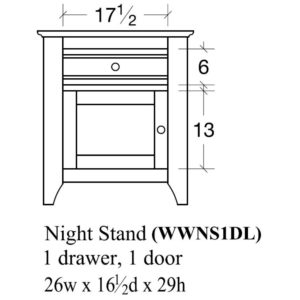 Woodrow 1 Door Nightstand (Right-Hand) by Amish Crafted by Noah Bontrager