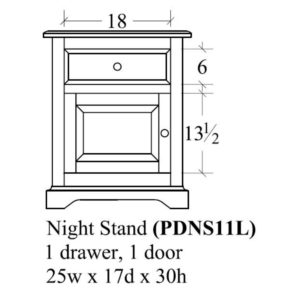 Portland 1 Door Nightstand (Right-Hand) by Amish Crafted by Noah Bontrager