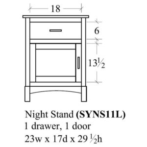Sydney 1 Door Nightstand (Right-Hand) by Amish Crafted by Noah Bontrager