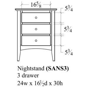 Sedona 3 Drawer Nightstand by Amish Crafted by Noah Bontrager