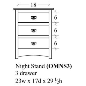 Old Mission 3 Drawer Nightstand by Amish Crafted by Noah Bontrager