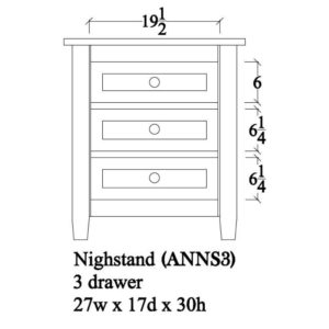 Adrian Night Stand (3 Drawer) by Amish Crafted by Noah Bontrager