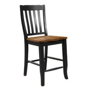 Quails Run 24″ Rake Back Stool (Almond/Ebony) by Winners Only