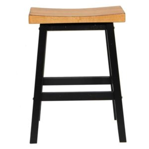 Quails Run 24″ Saddle Barstool (Almond/Ebony) by Winners Only