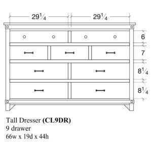 Cedar Lakes Tall Dresser by Amish Crafted by Noah Bontrager