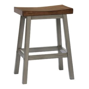 Barnwell 24″ Saddle Barstool (Rustic Brown 2 / Gray 2) by Winners Only