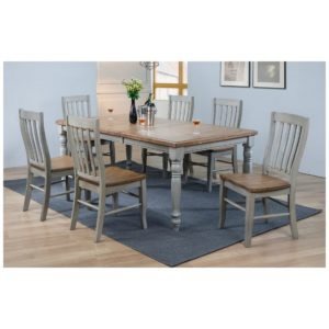 Barnwell 7-Piece Dining Set (Rustic Brown 2 / Gray 2) by Winners Only
