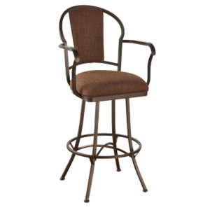 Charleston Swivel Barstool w/ Arms (Upholstered Back) by Callee