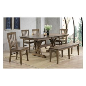 Carmel 6-Piece Dining Set (Rustic Brown) by Winners Only