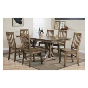 Carmel 7-Piece Dining Set (Rustic Brown) by Winners Only