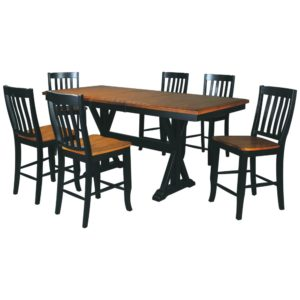 Quails Run 7-Piece Tall Dining Set (Almond/Ebony) by Winners Only