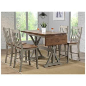 Barnwell 5-Piece Tall Dining Set (White Rustic Brown) by Winners Only