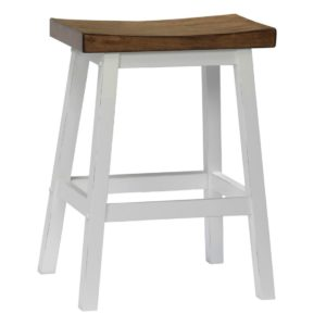 Pacifica 24″ Saddle Barstool (Rustic Brown/White) by Winners Only