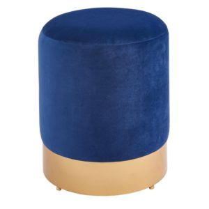 Coco Velvet Vanity Stool (Serene Dark Blue/Gold) by New Pacific Direct