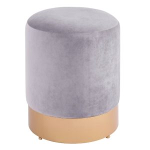 Coco Velvet Vanity Stool (Serene Gary/Gold) by New Pacific Direct