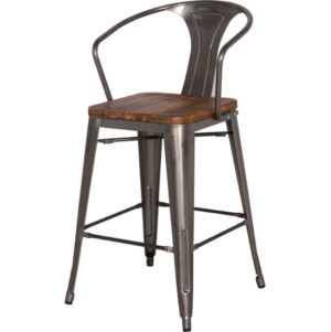 Metro Metal Stool with Wood Seat by New Pacific Direct – Your Choice 26″ Counter or 30″ Bar