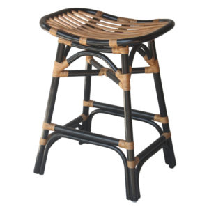 Damara Rattan 24″ Seat Height Counter Stool (Black) by New Pacific Direct