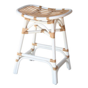Damara Rattan Counter Stool (White) by New Pacific Direct